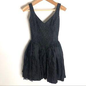 Gunne Sax Black Beaded 80s Cocktail Dress